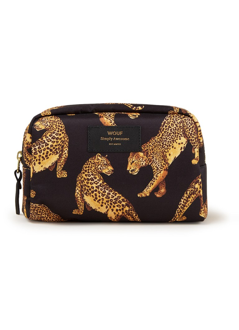 Wouf - Black Leopard Big Beauty toilettas met dessin - Zwart