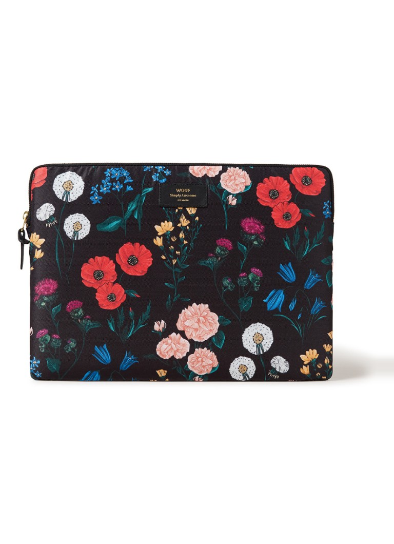Wouf - Blossom laptophoes 15 inch - Zwart