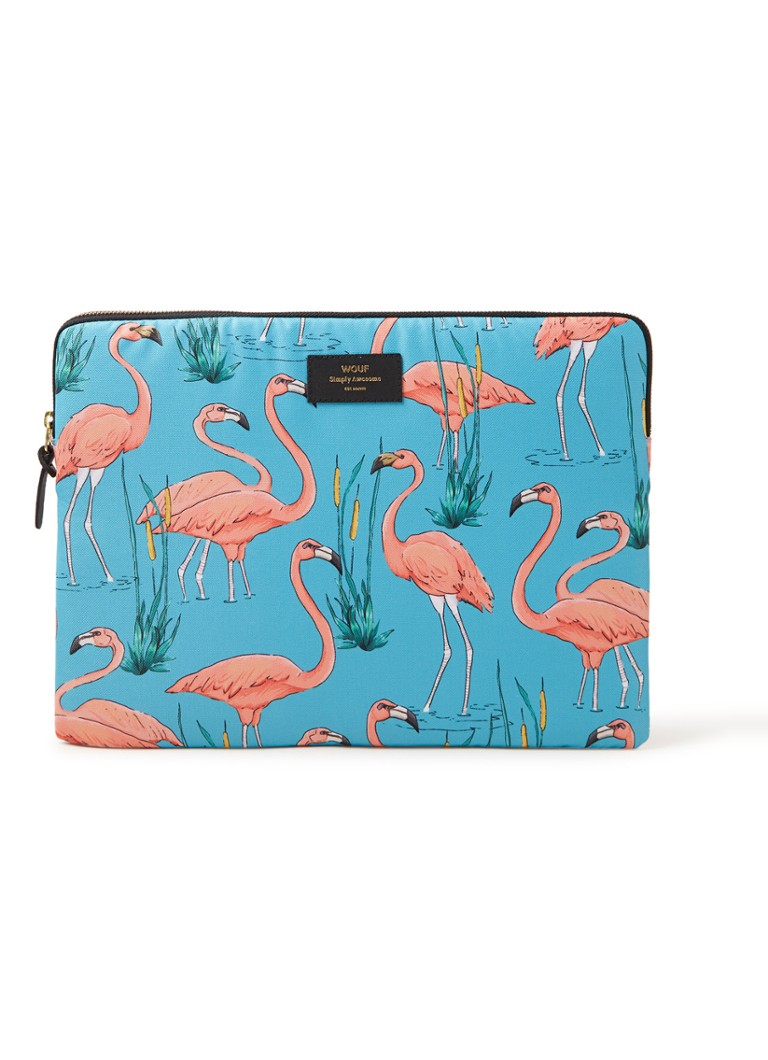 Wouf - Flamingos laptophoes met dessin 15 inch - Turquoise