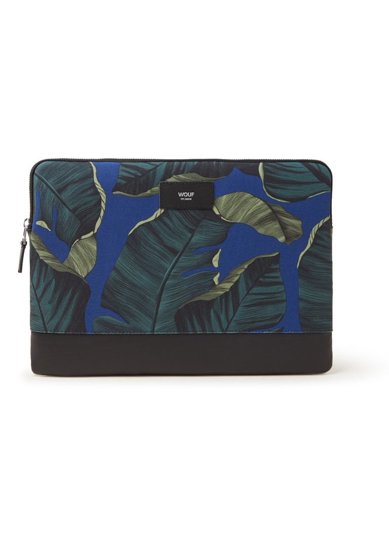 Wouf - Leaves laptophoes met dessin 13 inch - Donkergroen