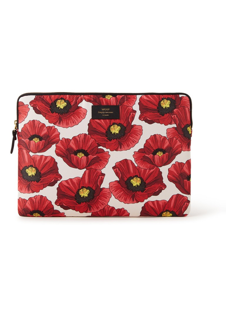 Wouf - Poppy laptophoes met dessin 15 inch - Rood