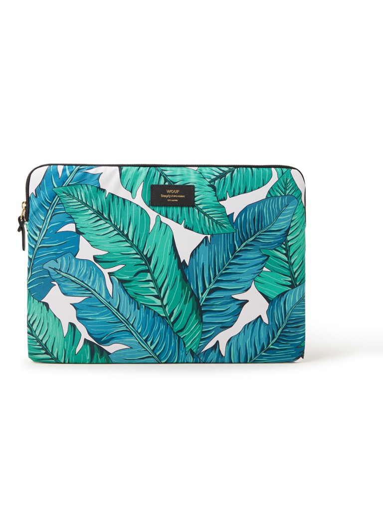 Wouf - Tropical laptophoes met dessin 15 inch - Groen