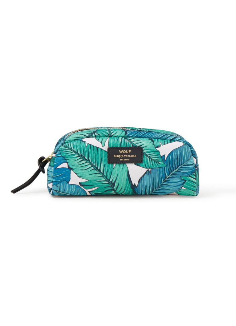 Wouf - Tropical Small Beauty make-up tas met dessin - Groen