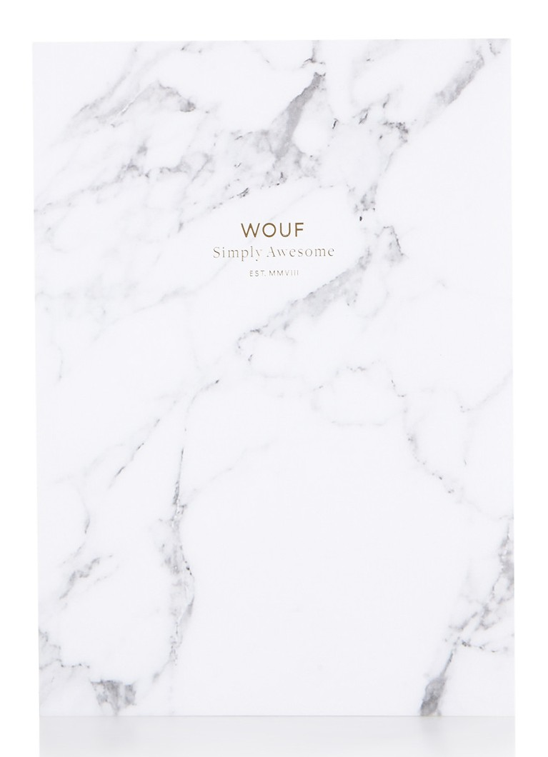 Wouf - White Marble notitieboek A5 - Wit