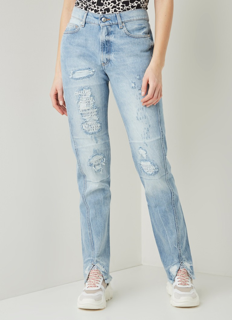 Zadig&Voltaire - Erini high waist straight fit jeans met ripped details - Indigo